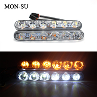 2pcs 12W Two Colors Led DRL Daytime Running Lights Car Styling 6Led White And Yellow Fog