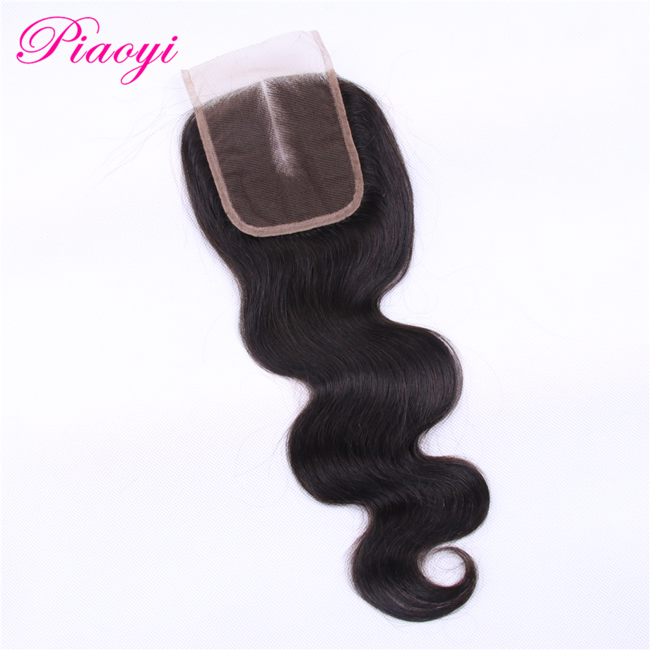 Brazilian 4x4 Closure Middle Part 100% Remy Human Hair Closures Body Wave Swiss Lace Medium Brown 130% Density Piaoyi Hair