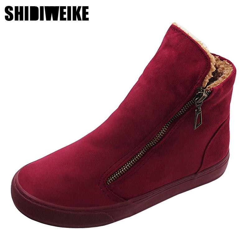 Shidiweike Women S Winter Shoes Pu Leather Boots Brand