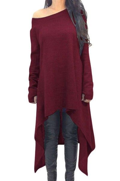 2017 Winter New Fashion Brief Style Women Pullovers Asymmetric Hemline Long Sleeve Oversize Sweater LC25975  Trui Voor Vrouwen
