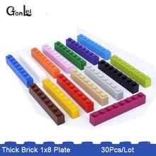 30Pcs/lot MOC *Brick 1x8 (3h)* 3008 DIY enlighten Block Bricks Toys Compatible with  Rebrickable Parts