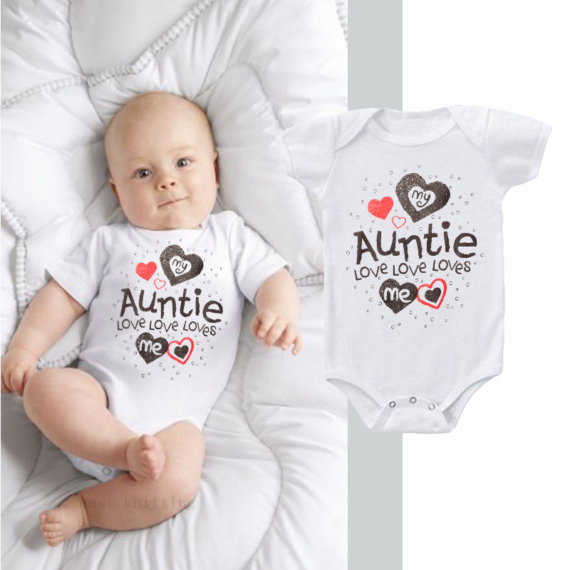 DERMSPE 2019 Summer New Style Baby Girls Boys Rompers Short Sleeve Newborn Baby Clothes Print  My Auntie Love MeJumpsuit White