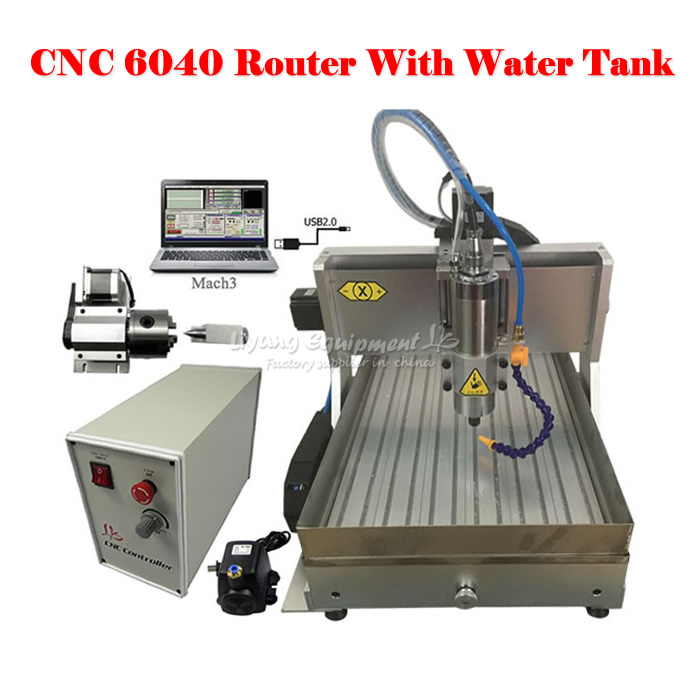 LY CNC 6040 Z-VFD 2.2KW USB port 4axis CNC router carving machine with water tank,free tax to russia 6040z vfd 2 2kw usb 4axis 6040 cnc milling machine mini cnc router with usb port russia free tax