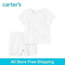 Carter s 2pcs baby children kids clothing girl fall winter Lace Top Short Set Banded waist