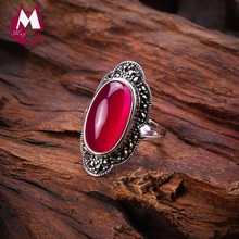 100% 925 Sterling Silver Ring For Women Original Design Red Jade Open Ring Gemstone Diamond Wedding Valentine's Day Jewelry SR10