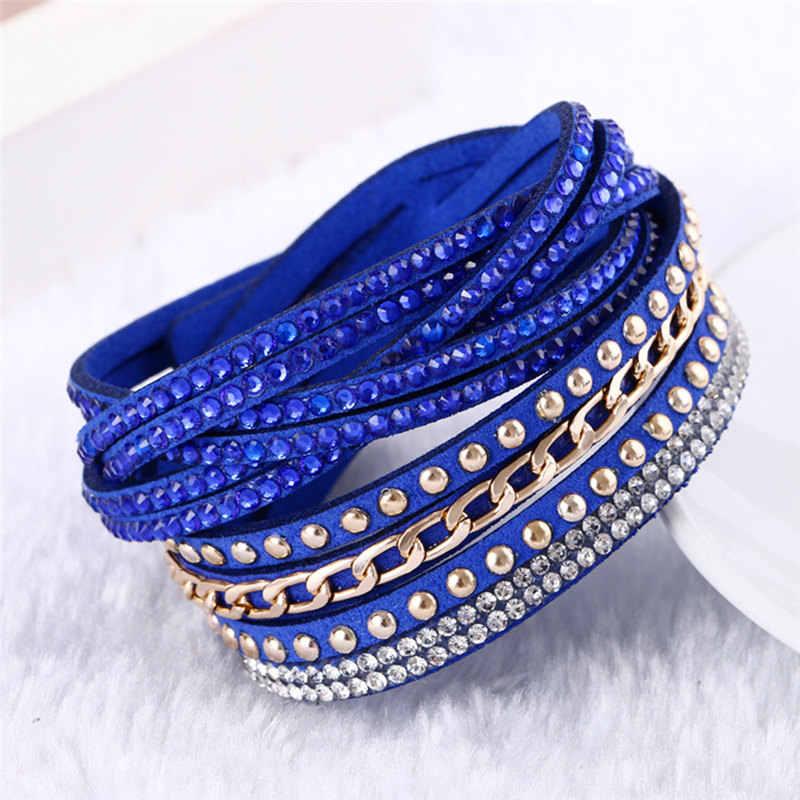 פלנל רב צבע שורות קריסטל חבל שרשרת צמיד אבן יד רצועת נשים לעטוף צמידי תכשיטים אביזרי KJL018