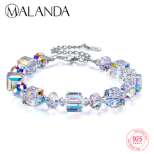MALANDA Brand Square Crystals From Swarovski  Bracelets Bangles Fashion Sterling silver Bracelets Bangles For Women Jewelry Gift
