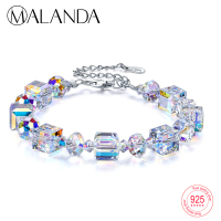 MALANDA Brand Square Crystals From Swarovski Bracelets Bangles Fashion Sterling silver Bracelets Bangles For Women Jewelry Gift
