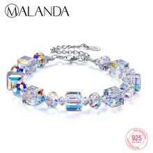 Бренд MALANDA, квадратные кристаллы от Swarovski, браслеты, браслеты, модные браслеты из стерлингового серебра, браслеты для женщин, ювелирное изделие, подарок