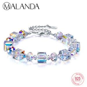 Image 1 - MALANDA marque cristaux carrés de Swarovski Bracelets Bracelets de mode en argent Sterling Bracelets Bracelets pour femmes bijoux cadeau