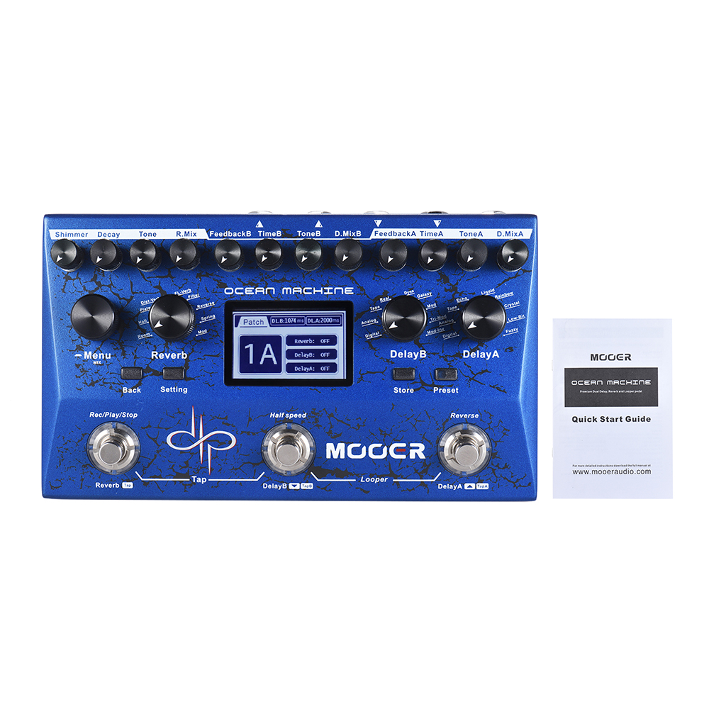 MOOER OCEAN MACHINE Premium Dual Delay Reverb Looper Multi effects Pedal 15 Types of Delay Effects