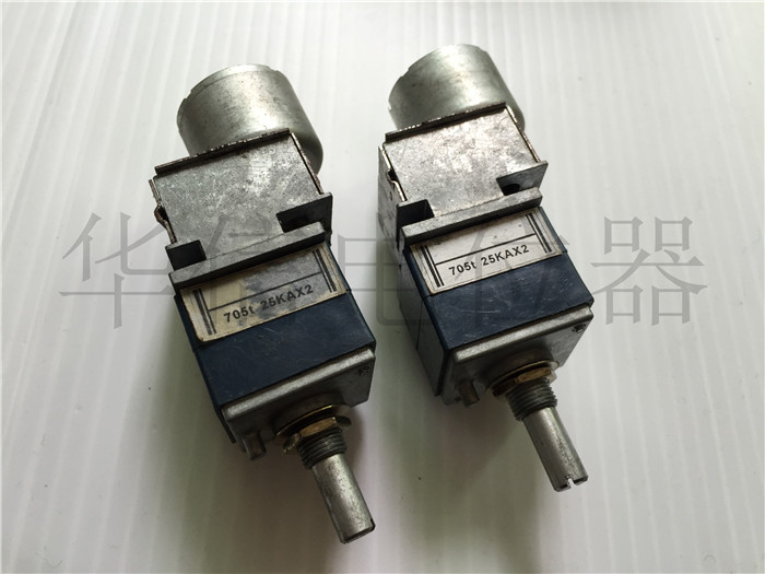 Quality assurance Japan import 7 Type double band motor potentiometer 25KAX2 A25K handle long 20MM round shaft (SWITCH) liulian motor potentiometer a100k 25mm round shaft