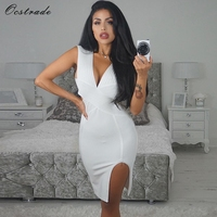 Ocstrade New 2017 Olive Green Split Sexy White Bandage Dress Summer V Neck Bodycon Dresses For