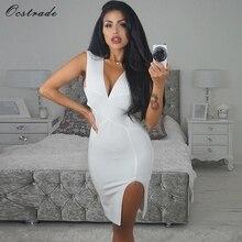 Ocstrade New 2018 Olive green Split Sexy White Bandage Dress Summer v Neck  Bodycon Dresses for ff1328f67ddc