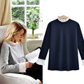 Long Sleeve T shirt Women 2017 New Spring Contrast O Neck Patchwork Casual Loose T-Shirt Tee Shirt Plus Size 4XL Women Clothing