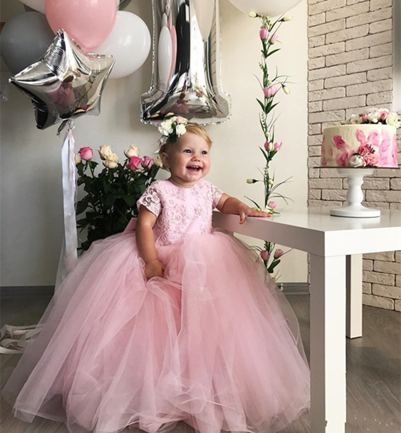 Lovely Cute Baby Birthday Gowns with Bow Illusion Back Covered With Buttons Puffy Tulle   Flower     Girl     Dress   For Special Occasion