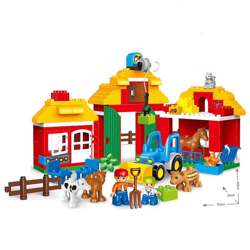 123pcs Large Particle Farm House Model Toys Boy Horse Animal Car Compatible Lepin Building Blocks Figure Set For Children Gifts gorock happy farm series animals paradise cow duck sheep farm animal model large particles building block compatible with duplo