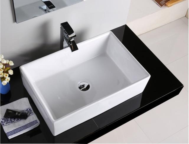 Porcelain Bathroom Rectangular Wash Basin Lavabo Sink Vessel Above Counter  Art Basin Three Size Optional JYT001