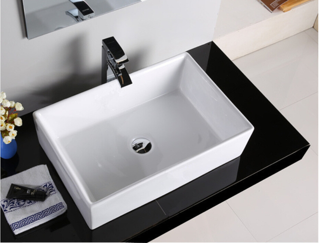 Rechthoekige Witte Wastafel : Porselein badkamer rechthoekige wastafel lavabo sink schip boven