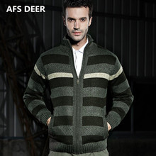 2017 Winter font b Men b font Fashion Zipper Striped Pockets Computer Knitting font b Sweater