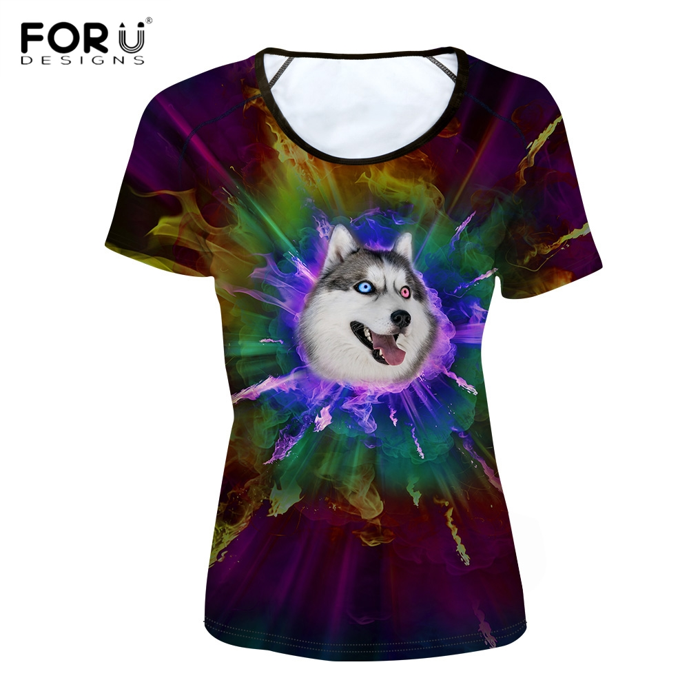 FORUDESIGNS Stylish Women Basic T Shirt Cute 3D Fire Colorful Husky Pug Dog Print Girl Tees Brand Short Sleeve Top Cloth T-shirt