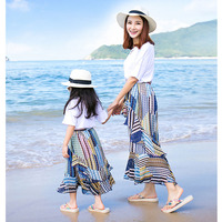 Mother Daughter Dresses Baby Girls Dress Summer Mermaid Bohemian Skirt T Shirt Set Kids Boys T