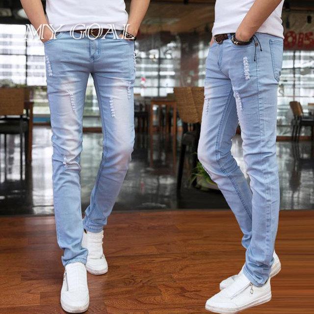 2016 primavera e verão novas calças de brim dos homens do estilo Coreano céu azul casual calças afluxo legal homem trecho comprimento total calças