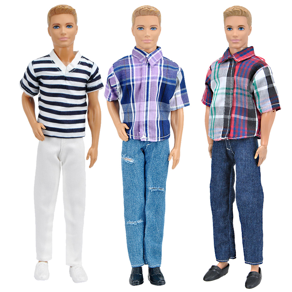 E-TING 1/6 Ken Doll Clothes Fashion Lifestyle 3PCS Plaid Long sleeves T-shirt  Pants Boys Suit For Barbie Doll Accessories Gifts high quality elastic leather bottoms pants trousers for barbie doll clothes fashion outfit for 1 6 bjd dolls accessories