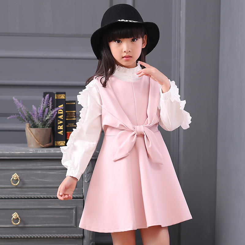 2017 autumn Style Brand Baby Girl Clothing Set long sleeve sweater stitching lace Tshirt +Princess bow dress Girls Suit 2017 new style spring autumn hoodie baby girl clothing set sequin lace long sleeve velour sports jacket long trousers outfits