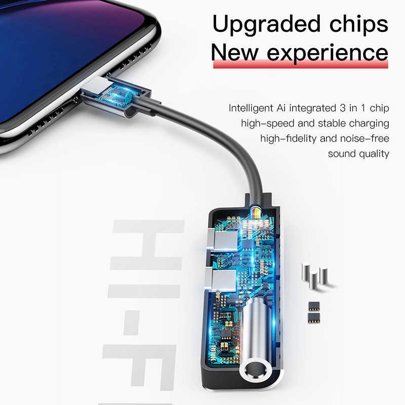 Baseus Audio Aux adaptador para for iphone Xs Max Xr 8X7 Plus OTG Cable Jack de 3,5mm de auriculares de carga para converter