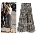 Fringe Skirt For Women 2016 Hot Sale New Summer Style Womens Long Chiffon Pleated Striped Pattern Faldas Plus Size Skirts Q8169