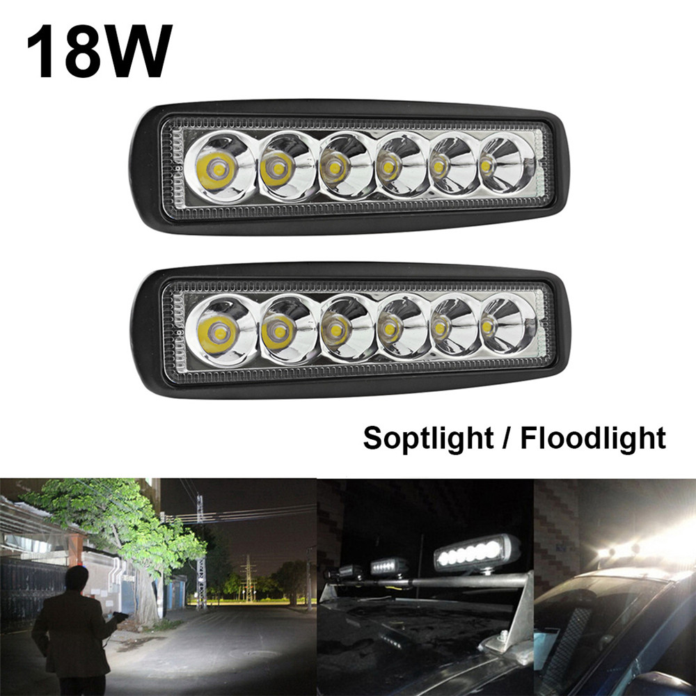 2 x 18W 6 LED Bar Work Light Boat Lamp for Indicators Motorcycle Driving Offroad Boat Car Tractor Truck 4x4 SUV ATV Spot/Flood 18w led work light date running lights driving led bar offroad for indicators motorcycle boat car tractor truck 4x4 suv atv jeep