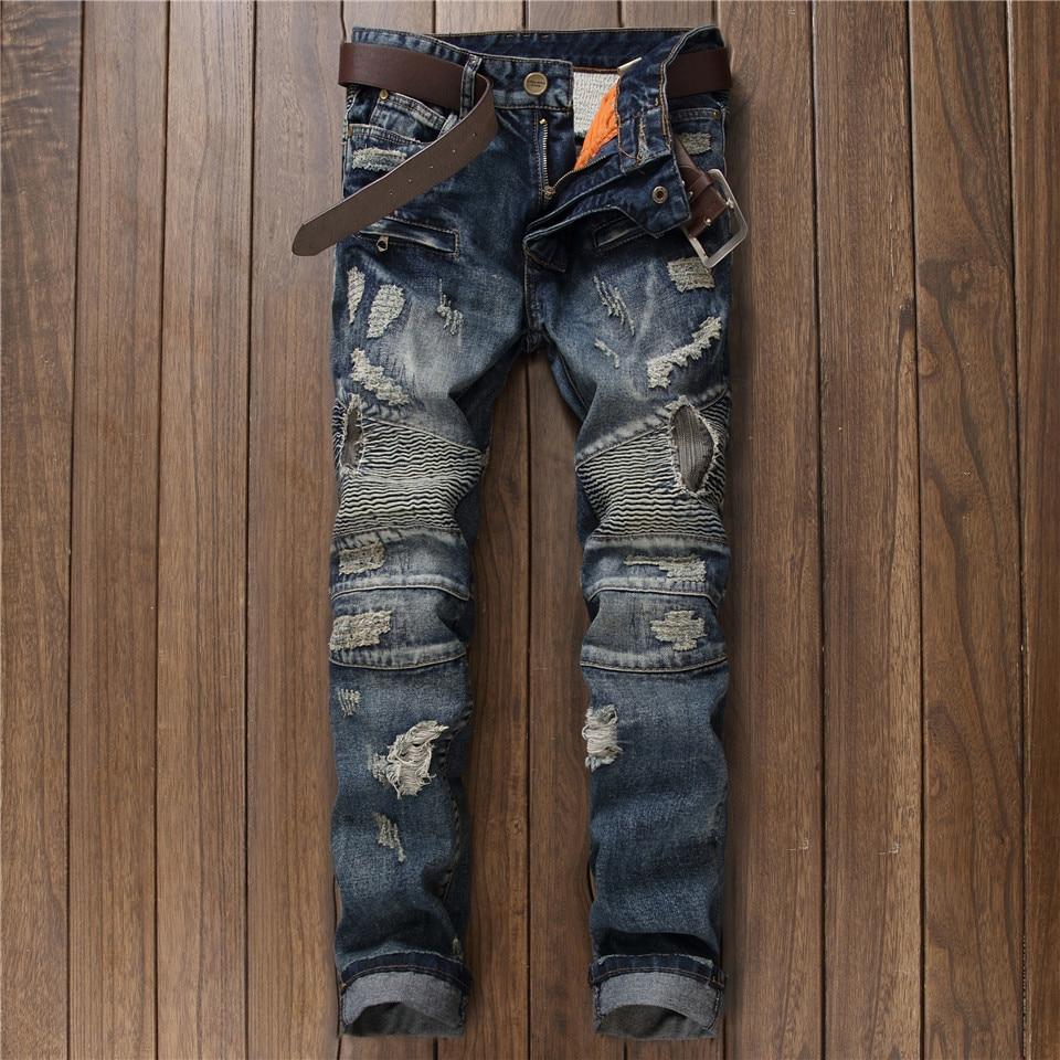 Ripped Biker Jeans Slim Straight Fashion Patch Hole Moto Jeans Men Pleated Designer Vintage Streetwear Hip Hop Jogger Pants 2017 men jeans biker pleated mens denim ripped jeans hip hop straight stretch zipper distressed moto slim fit pleated punk pants