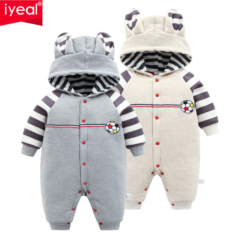 IYEAL Newborn Baby Rompers Winter Cute Ears Hooded Long Sleeve Toddler Jumpsuits Boys Girls Clothes Warm Cotton-padded Outerwear winter baby rompers bear girls boys clothes hooded baby boys rompers cotton padded jumpsuits infants kids winter clothes