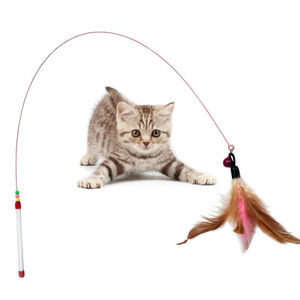 Fun Kitten Toys Cat Toy for cats interactive Feather Bell Wand Teaser Rod Bead Play Pet Ball Toy Games 1PCS Feather Wire Toy(China)