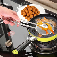 New Food Tong Stainless Steel Strainer Kitchen Filter Mesh Spoon Fried Food Oil Strainer Clip BBQ Salad Clip