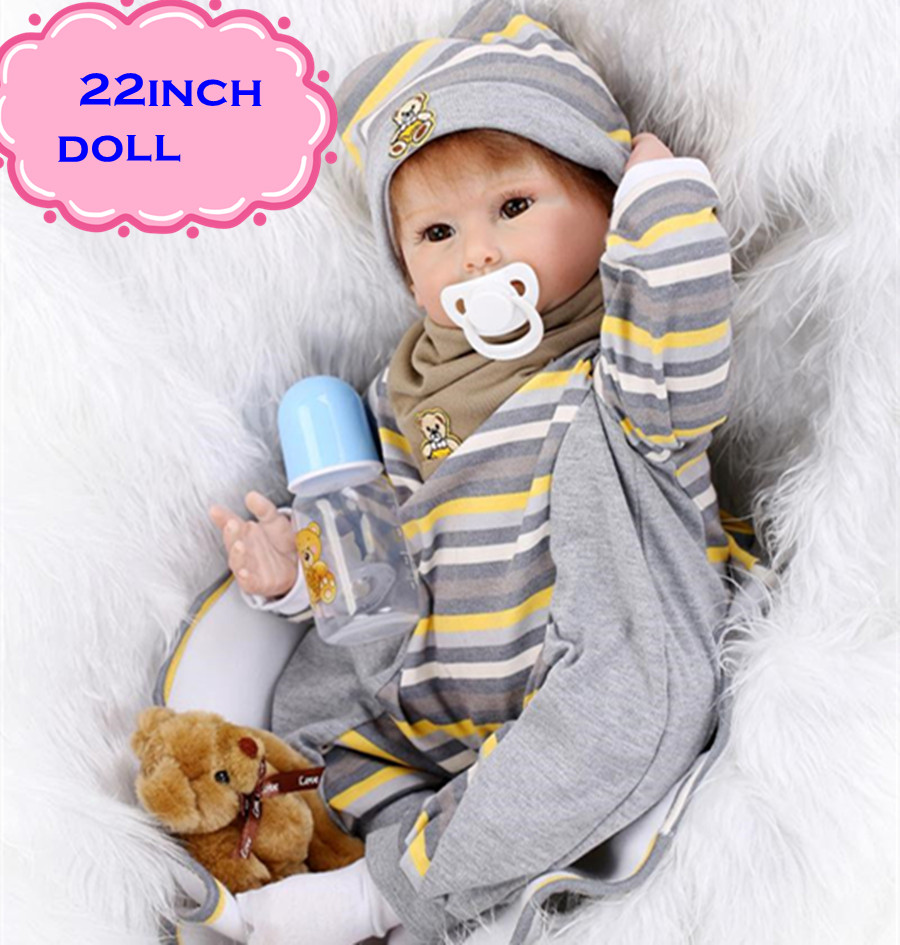 New Attractive Kids Playmate Silicone Reborn Baby Dolls About 22inch/55cm Safe Handmade NPK Baby Dolls Newborn For Bebe Juguetes