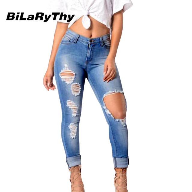BiLaRyThy Sexy Women Blue Jeans Skinny Ripped Distressed Holes Cotton Denim Stretch Pencil Pants Trousers Plus Size