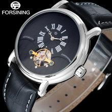 FORSINING марка повседневная мужчины механические часы кожаный ремешок горячие бизнес мужские автоматические турбийон часы relógio masculino