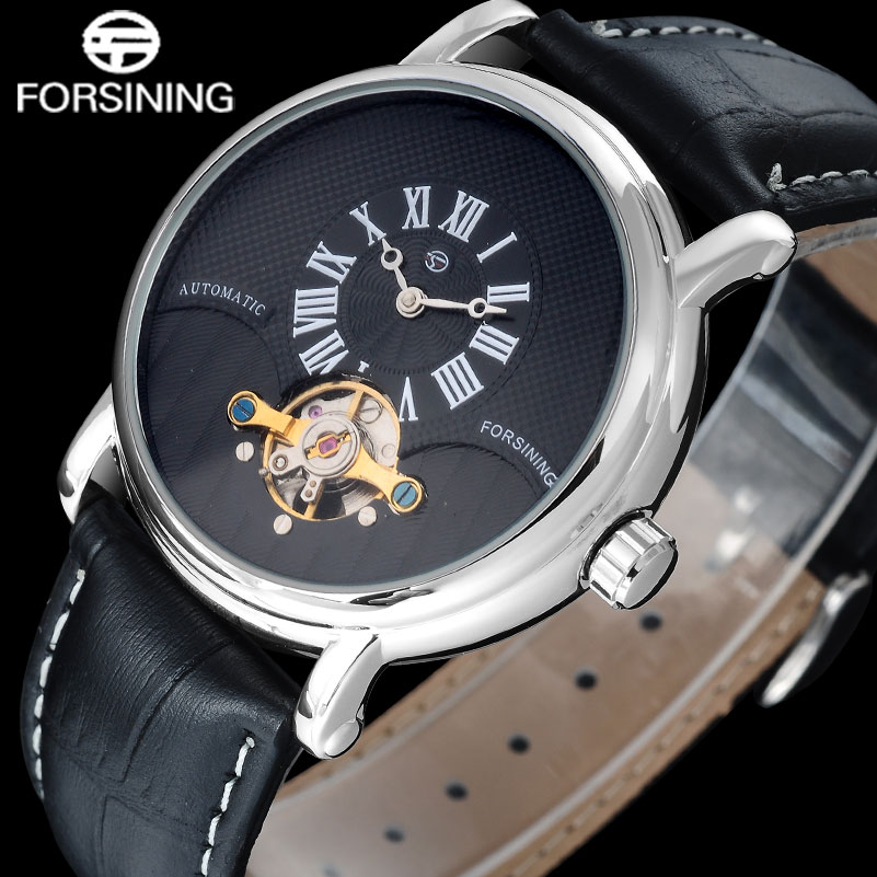 FOSINING men simple automatic watch fashion casual tourbillone mechanical dress watches Rome dial Black leather band clock gaiety men s casual stripe dial leather band dress watch g538
