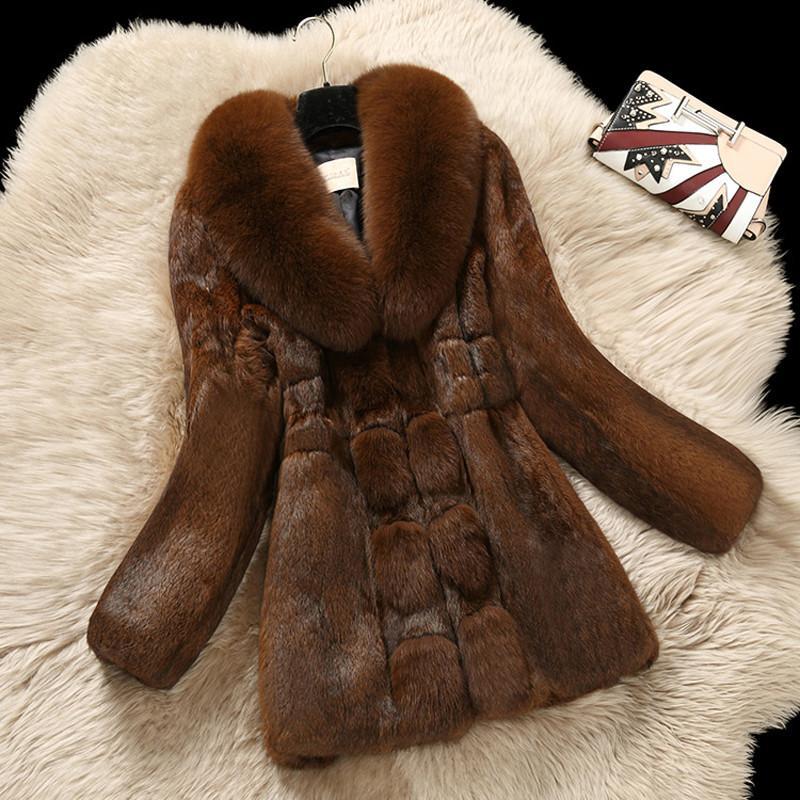 Women Winter Luxury Genuine Real Rabbit Fur Jackets Coat With Natural True Fox Fur Collar Female Fur Overcoat Plus Size 6XL V309