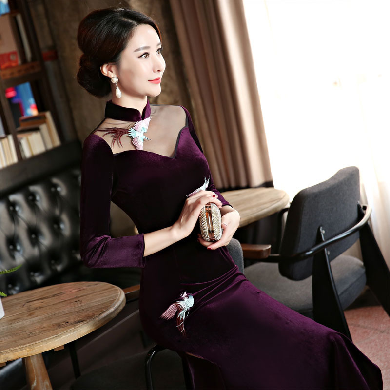2018 nouveau bleu marine velours Qipao robe Style chinois femmes Mandarin col Long Cheongsam robes de grande taille M L XL XXL XXXL 4XL - 4