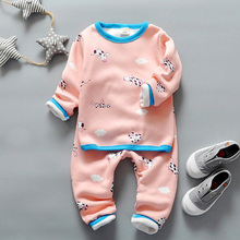 2-5T children thermal underwear for boys winter girls clothing set warm long johns girl boy catoon Value Baby Pajama sets thick