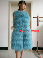 2017 fashion new lamb fur vest long Mongolia Sheep Fur coat Slim beach wool coat
