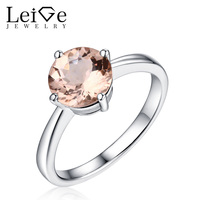 Leige Jewelry Romantic Round Cut Morganite Ring Pink Gemstone Sterling Silver 925 Jewelry Wedding Rings for Girl Christmas Gift