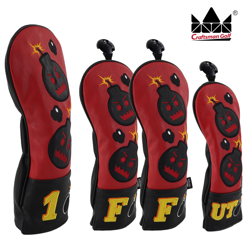 Craftsman Golf Headcover Sets For Woods Driver Fairway Utility Hybrid With Number Tag Bomb Embroidery PU Leather