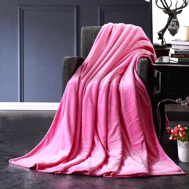 Bedding Pink pure color Flannel home textiles bedspread air conditioning blanket be suitable for tourism sofa mat super soft