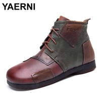 YAERNI Hot Sale Shoe Martin Boots Genuine Leather Ankle Shoes Vintage Casual Shoes Brand Design Retro