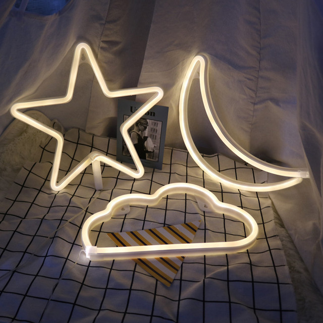 Led Neon Night Light Love Star Moon Clouds Wall Lamp Usb Battery Operated Heart Lightning