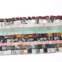 LanLi bijoux de mode 4/6mm carré pierres naturelles perles bricolage hommes et femmes bracelet collier oreille stud accessoires faire